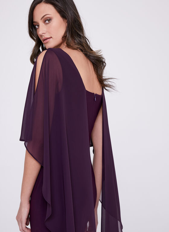 Frank Lyman – Sleeveless Chiffon Overlay Dress, Purple, hi-res