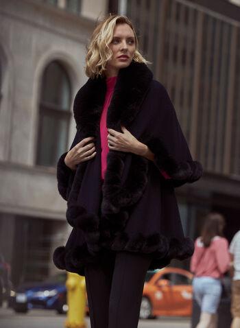 Faux Fur Trim Cape, Black,  fall 2021, accessories, cape, poncho, one size, faux fur, faux fur trim, twisted, detail, open front, layered, outerwear