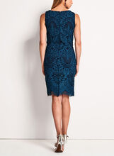 Scallop Lace Sheath Dress, Blue, hi-res
