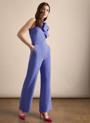 Vince Camuto - Sleeveless Crepe Jumpsuit, Blue,  jumpsuit, high neck, tie, sleeveless, crepe, wide leg, pockets, fitted, spring summer 2020