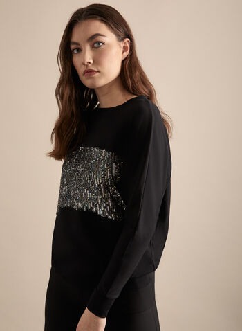 Long Sleeve Sequin Top, Black,  canada, long sleeves, sweatshirt, top, sequin top, sequin sweatshirt, spring top, metallic, glitter top, glitter, spring 2020, summer 2020