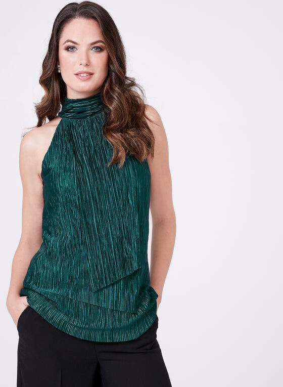 Sleeveless Keyhole Detail Blouse, Green, hi-res