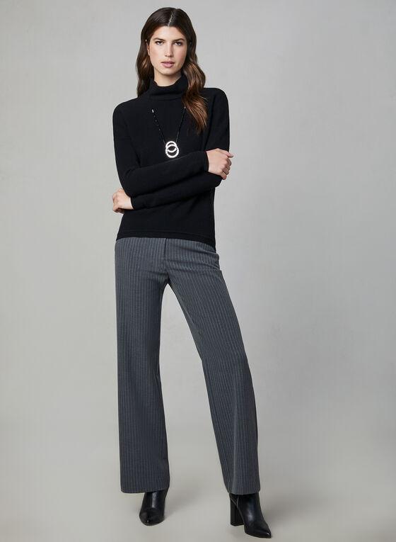 Ribbed Print Zipper Detail Sweater, Black