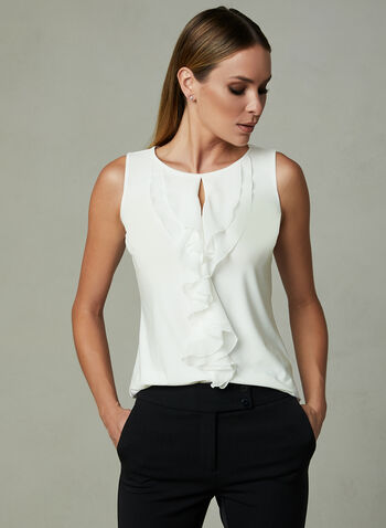 Ruffle Front Sleeveless Top, Off White, hi-res