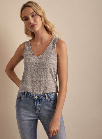 Sleeveless Jersey Top, Grey,  top, sleeveless, v neck, jersey, wavy, spring summer 2020