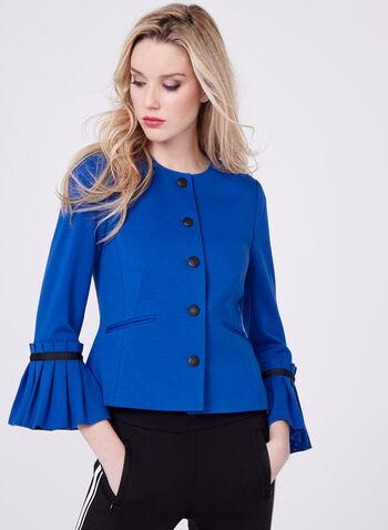 Blazer contrastant avec manches cloche à plis plats, Bleu, hi-res
