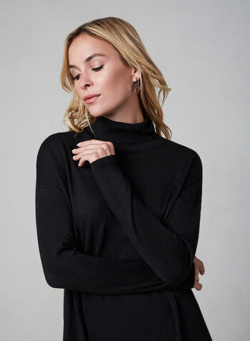 Asymmetric Turtleneck Knit Sweater, Black, hi-res,  warm sweater, knit tunic