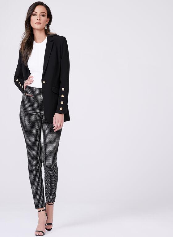Jacquard Straight Leg Pants, Black, hi-res