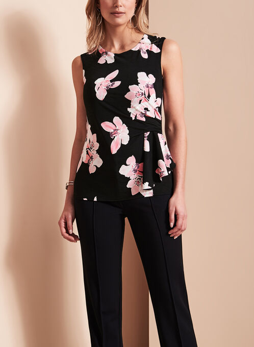 Extended Sleeve Floral Print Top, Black, hi-res