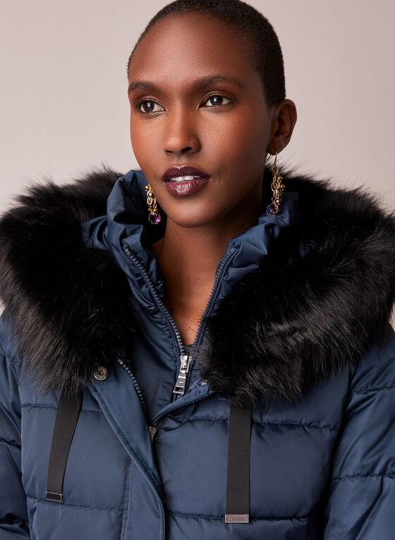 Tahari - Faux Fur Trim Quilted Coat, Blue