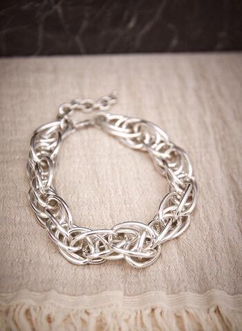Collier à chaînes multiples entrelacées, Argent,  accessoires, bijoux, collier, chaînes multiples entrelacées, couleur dorée, fermoir mousqueton, automne hiver 2021