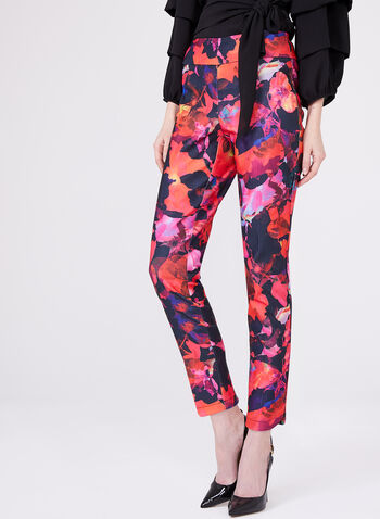 Frank Lyman - Bold Floral Pull-On Ankle Pants, Blue, hi-res