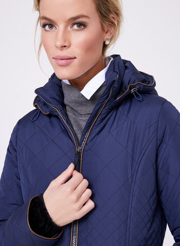 Faux Leather Trim Quilted Coat, Blue, hi-res