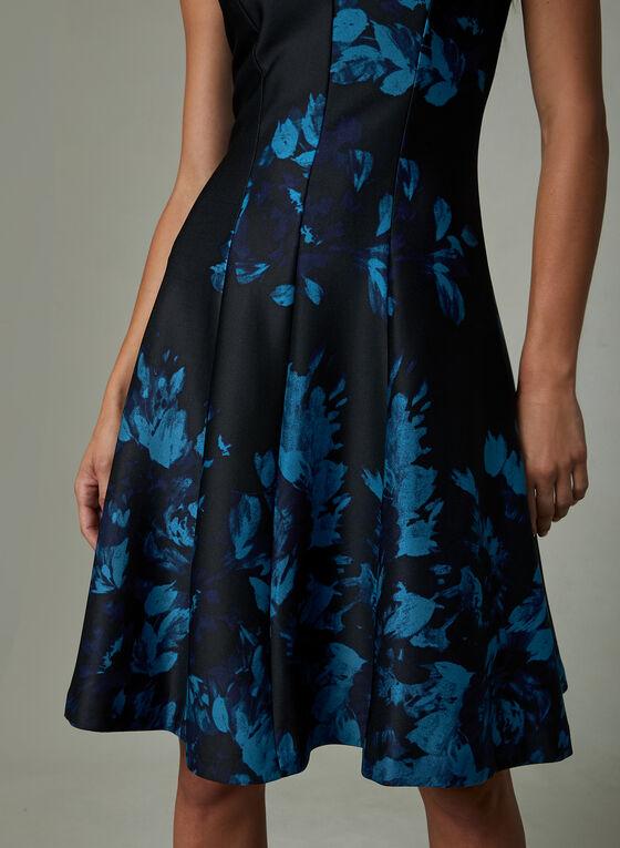 Julia Jordan - Robe ajustée et évasée à fleurs, Bleu, hi-res