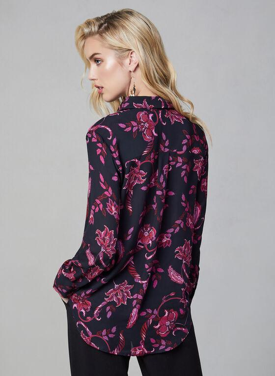 Blouse à imprimé de fleurs baroques, Noir