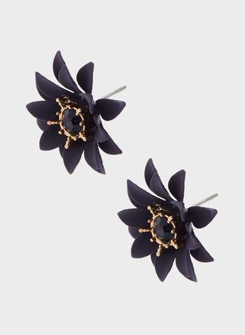 Boucles d'oreilles fleurs avec pierres facettées, Bleu, hi-res