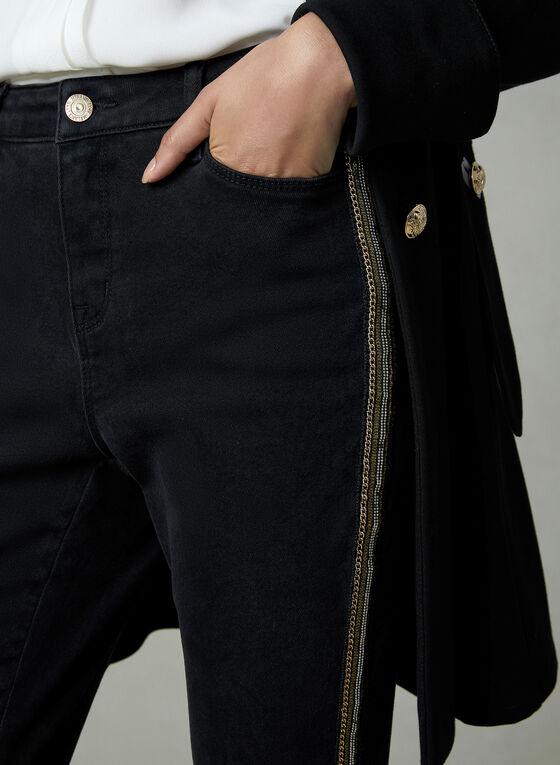 Jean à jambe étroite et détails dorés, Noir