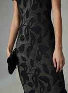 Adrianna Papell - Robe métallique à motif feuilles, Noir, hi-res