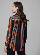 Stripe Print Chiffon Shirt, Black, hi-res