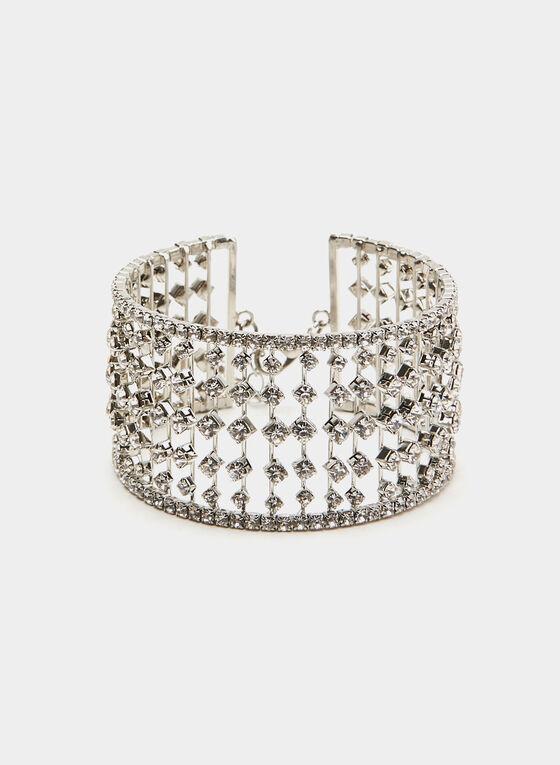 Crystal Cuff Bracelet, Silver, hi-res