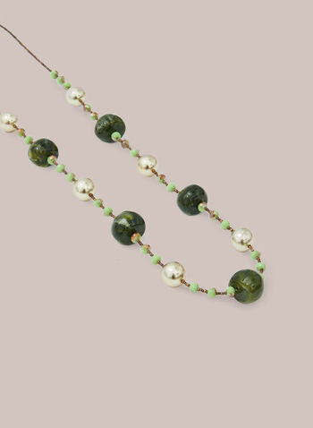 Pearl & Resin Bead Necklace, Green,  necklace, beads, pearls, resin, spring summer 2020