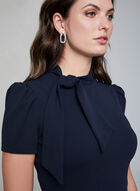 Maggy London - Tie Detail Sheath Dress, Blue, hi-res