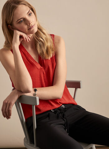 Vince Camuto - Sleeveless V-Neck Blouse, Red,  blouse, top, sleeveless, v-neck, high low, crumpled, spring summer 2020