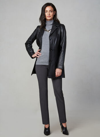Anne Klein - Long Leather Jacket, Black, hi-res,  fall winter 2019, leather, Anne Klein, long