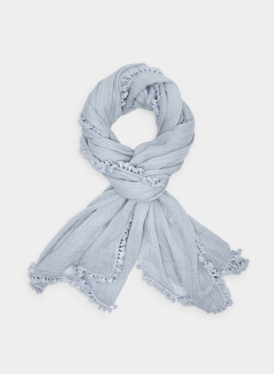 Textured Tassel Scarf, Blue, hi-res