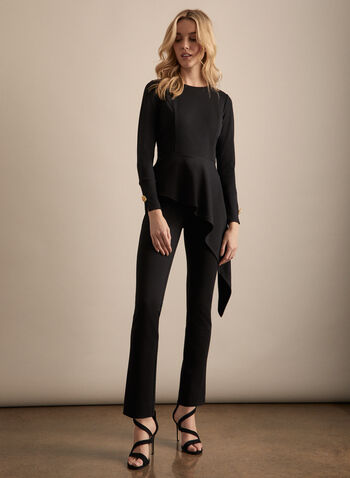 Asymmetric Peplum Top, Black,  haut, peplum, long sleeves, button detail, asymmetric, crew neck, stretchy, spring summer 2020