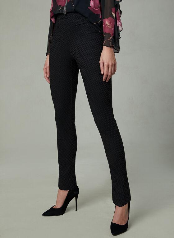 Pantalon pull-on en jacquard à jambe étroite, Noir
