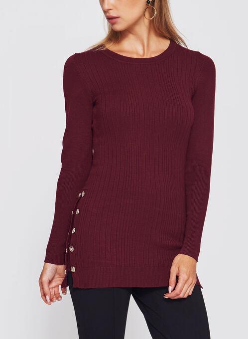 Pull long en tricot avec boutons décoratifs, Rouge, hi-res