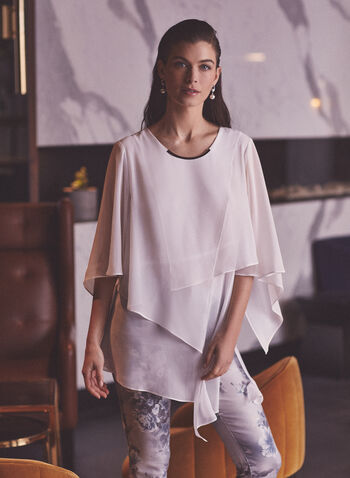 Joseph Ribkoff - Asymmetrical Layered Tunic, Off White,  top, tunic, blouse, layered, crepe, metallic, scoop neck, asymmetrical, spring summer 2021