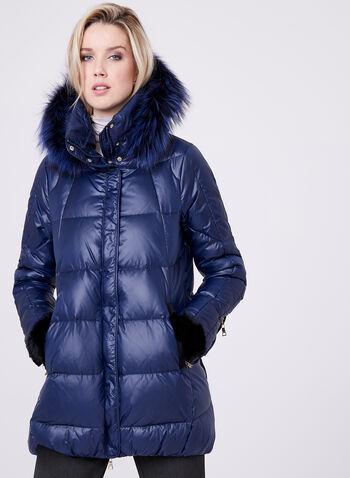 Nuage - Manteau matelassé avec capuchon amovible en fourrure, Bleu, hi-res