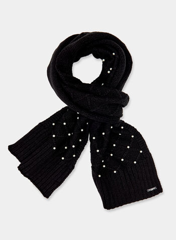 Karl Lagerfeld Paris – Pearl Embellished Knit Scarf, Black, hi-res
