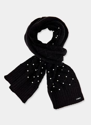 Karl Lagerfeld Paris - Écharpe à maille torsadée et perles, Noir, hi-res