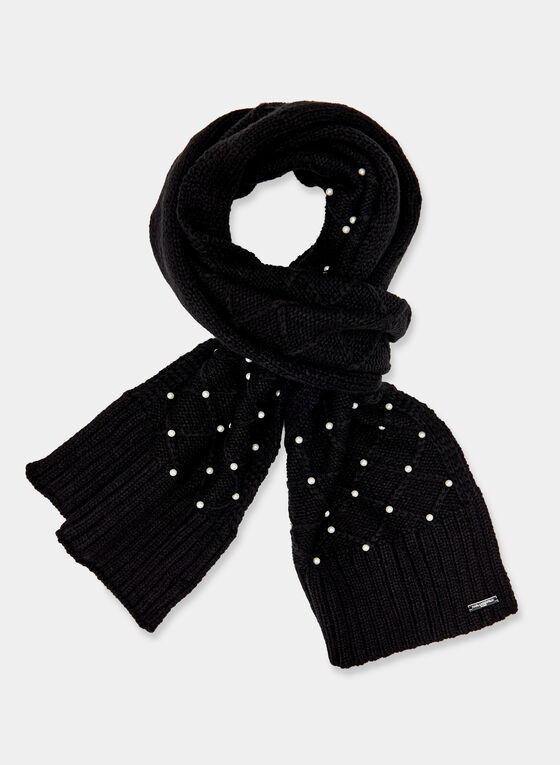 Karl Lagerfeld Paris – Pearl Embellished Knit Scarf, Black, hi-res