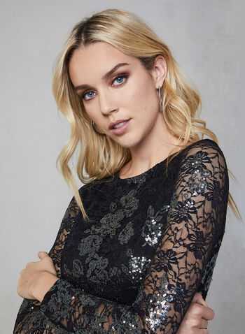 BA Nites - Lace-Embroidered Sequin Dress, Black,  BA Nites, dress, cocktail dress, midi, long sleeves, sheath, lace, sequin, exposed zipper, fall 2019, winter 2019