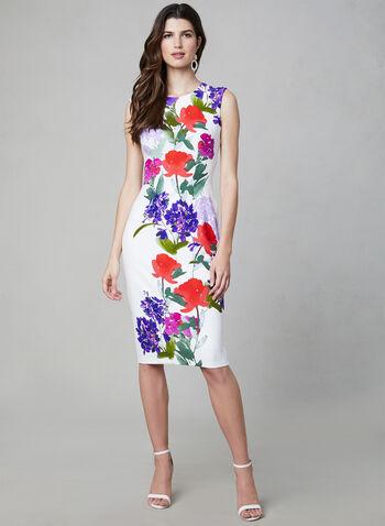 Maggy London - Floral Print Dress, White, hi-res,  Maggy London, extended shoulder, floral print, midi, spring 2019, summer 2019