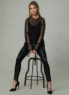 Frank Lyman - Pearl Embellished Mesh Top, Black, hi-res