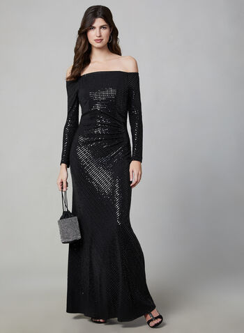 Cachet - Off-the-Shoulder Glitter Dress, Black, hi-res,  evening gown, off-the-shoulder, sequins, pleated, fall 2019, winter 2019