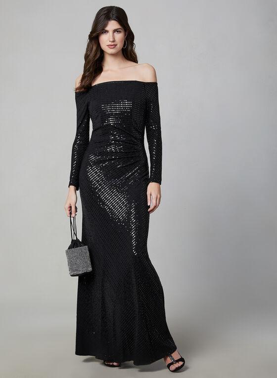 Cachet - Off-the-Shoulder Glitter Dress, Black