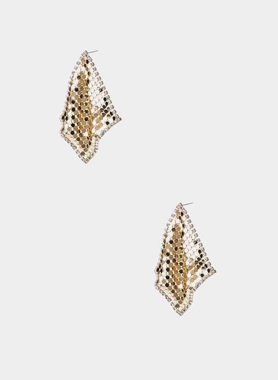Metallic Diamond Shape Earrings, Gold