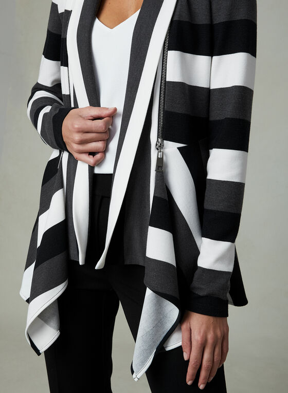 Frank Lyman - Stripe Print Open Front Top, Grey, hi-res