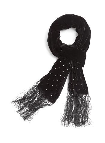 Foulard pashmina en velours, à sequins et franges, Noir, hi-res