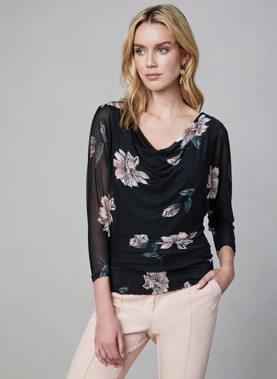 Floral Print Mesh Top, Black, hi-res