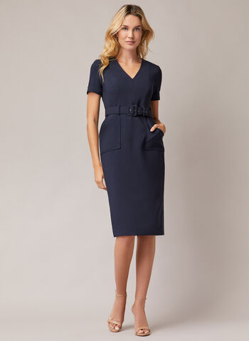 Maggy London - Belted V-Neck Dress, Blue,  day dress, short sleeves, belt, v-neck, crepe, pockets, spring summer 2020