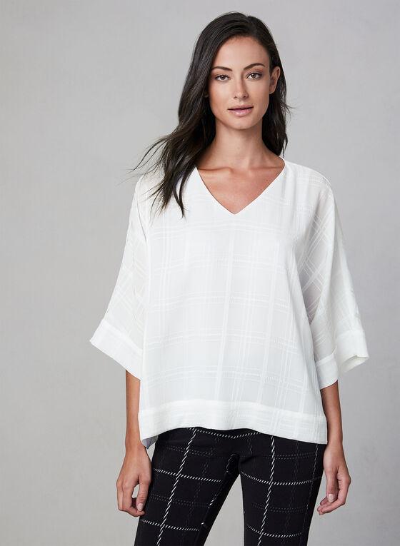 Plaid Print Kimono Sleeve Top, Off White, hi-res