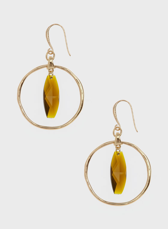 Robert Lee Morris - Geometric Stone Hoop Earrings, Brown, hi-res