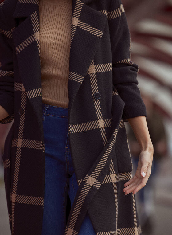 Manteau ceinturé à carreaux, Noir